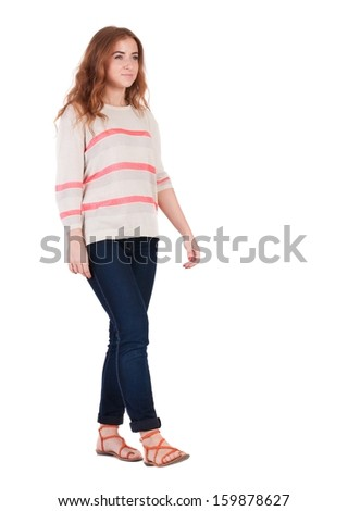 front view of walking  woman . beautiful redhead girl in motion.  people collection. Isolated over white background.
