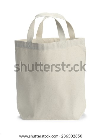 Front View of White Canvas Bag With Copy Space Isolated on White Background. - stock photo