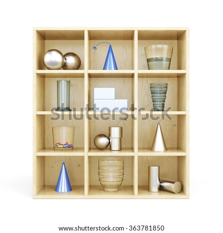Front view of wooden shelves from standing on it primitives. 3d illustration. - stock photo