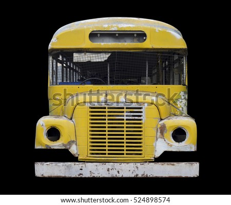 Front View : Old Fashioned Scoolbus Isolated on Black Background