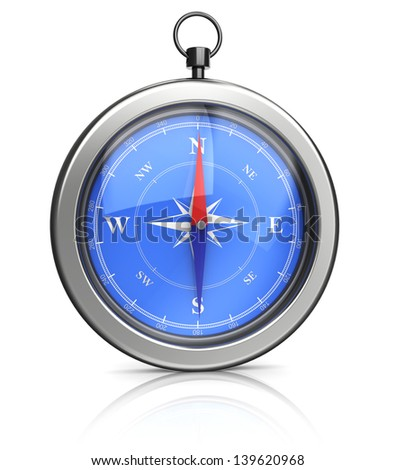 front view on 3d silvery compass over white background