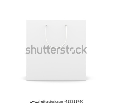 Front view paper bag with handles isolated on white background. Paper white bag for your design.  3d rendering. - stock photo
