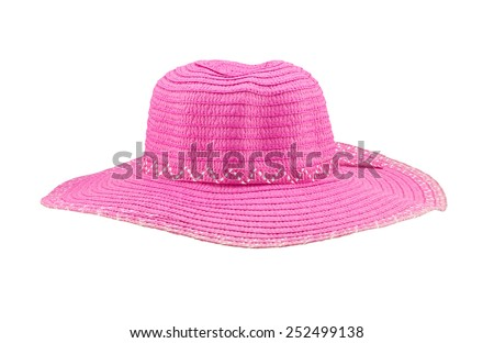 Front view pink floppy hat isolated on white background - stock photo