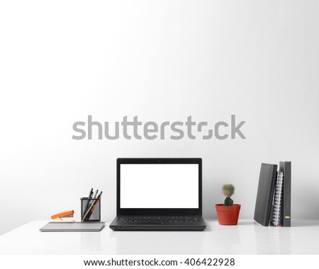 Front view portrait of modern person working area, over white background for copy space - stock photo