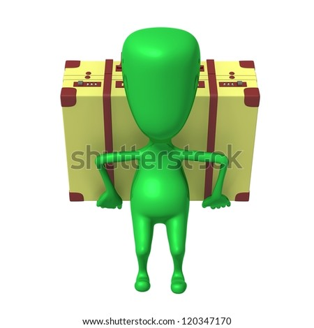 Front view puppet carry suitcase on his back - stock photo