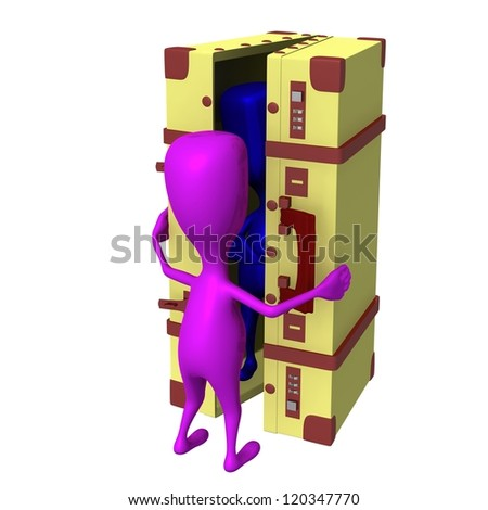 Front view puppet close big suitcase another within - stock photo