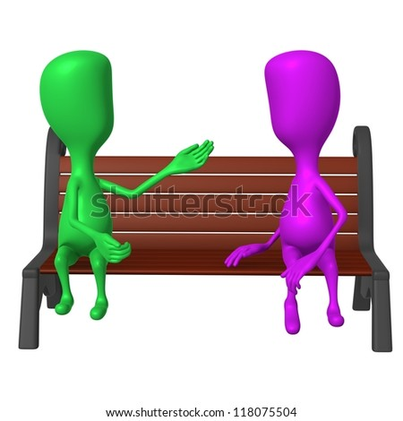 Front view puppet on bench keeping inclusive conversation - stock photo