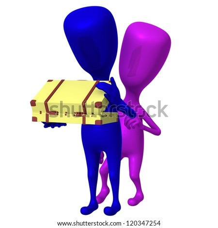 Front view puppet open small case with caution - stock photo