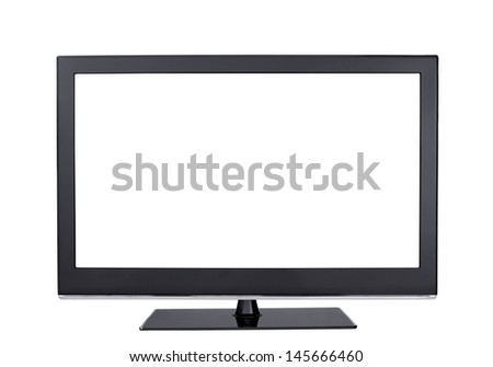 front view wide screen led lcd tv monitor isolated on white - stock photo