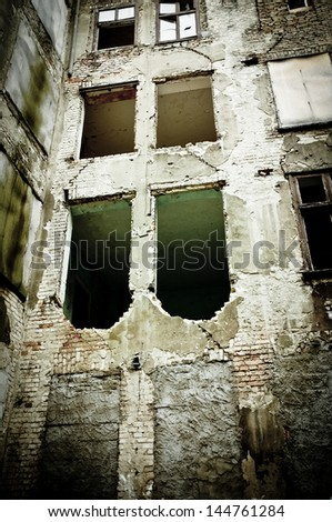 Front Wall of the devastated building - stock photo