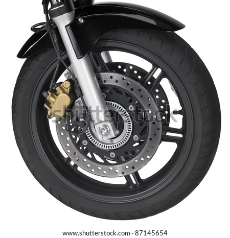 front wheel of a motorbike isolated on white with clipping path