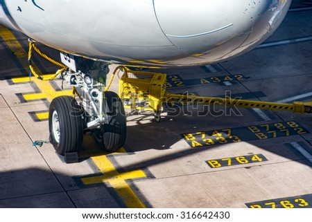 Front Wheels Boeing 747 on stand - stock photo