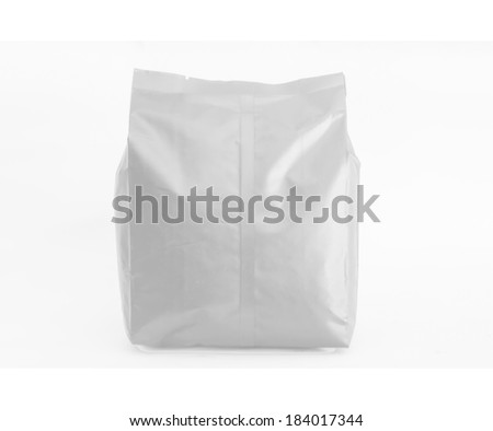 Front white Foil Packaging Plastic Pack  Snack Product Packing isolate white background - stock photo