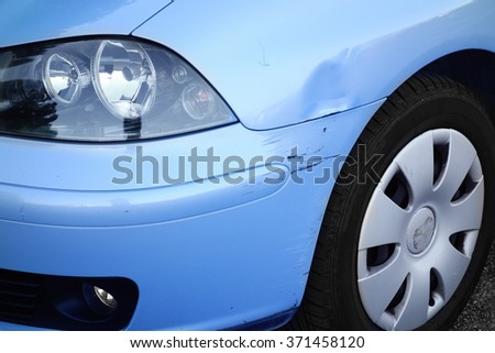 Front Wing Dented Car                   - stock photo