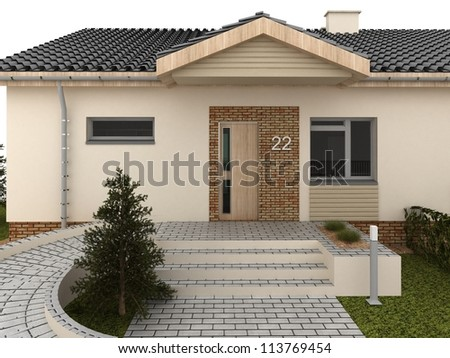 Front yard of modern house-computer generated visualization. - stock photo