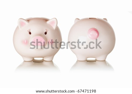 Frontal and rear views of piggy bank with reflections on white background - stock photo