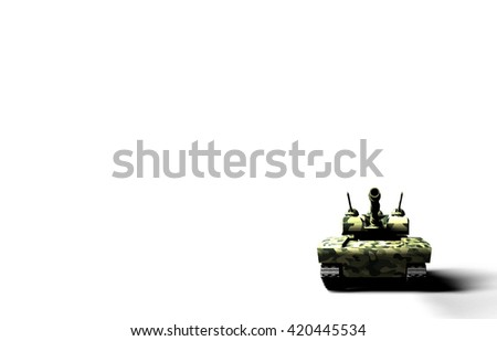 Frontal 3D render of a green military tank with camouflage texture on black background. - stock photo