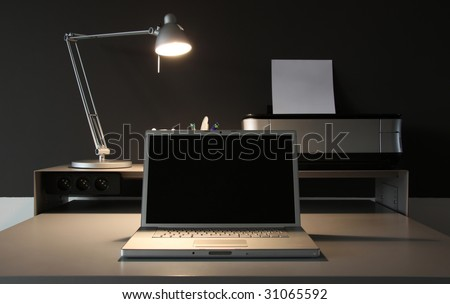 frontal Home office desk whit lamp - stock photo