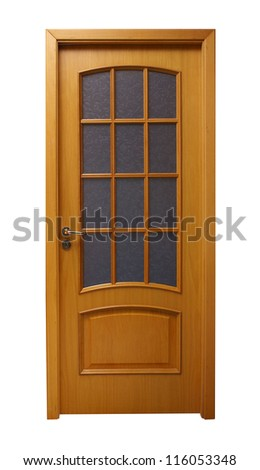 Frontal image of a closed door, isolated on white background. - stock photo