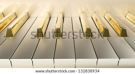 frontal plane with gold keys - stock photo