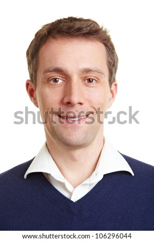 Frontal portrait of a smiling business man - stock photo