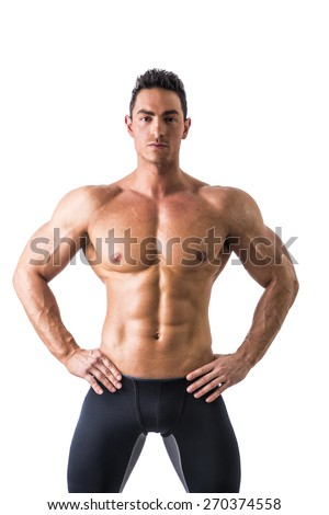 Frontal shot of shirtless muscular young man, relaxed pose, isolated on white - stock photo