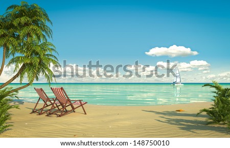Frontal view of a caribbean beach with deck chairs and boat - stock photo