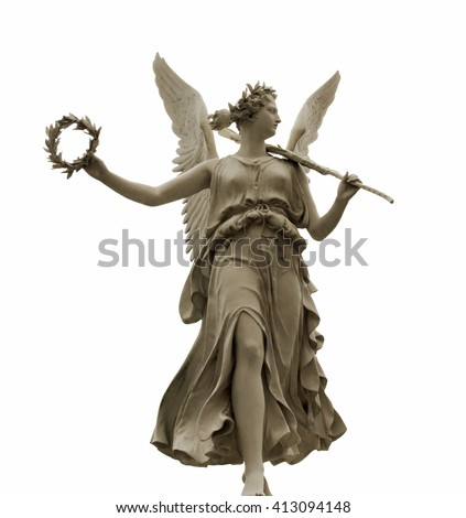 Frontal view of a Statue of the goddess Nike, isolated on white background by clipping path - stock photo