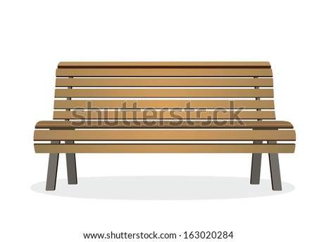 frontal view of a wooden park bench