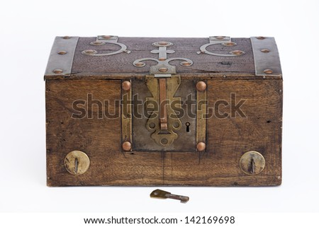 Frontal view of an old wooden chest on white background. Wooden Chest.  - stock photo
