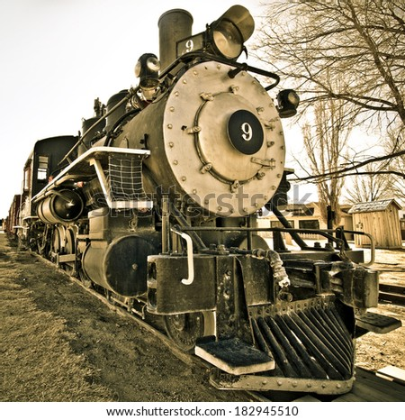 Frontal view of locomotive number 9 in the Eastern Sierras. - stock photo