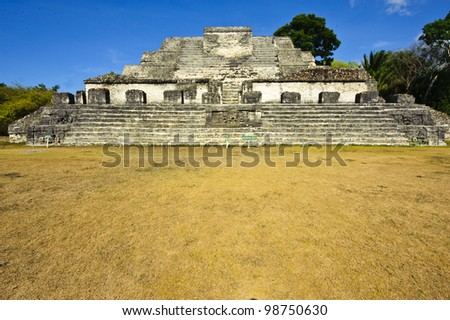 Frontal view of the Altun Ha Mayan Temple in Belize - stock photo