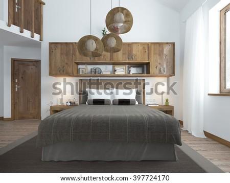 Large Bright Bedroom Loft Above Bed Stock Illustration 397724149 ...