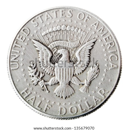 Frontal view of the obverse (heads) side of a silver half Dollar minted in 1964.Depicted is the US presidential seal. Isolated on white background. - stock photo