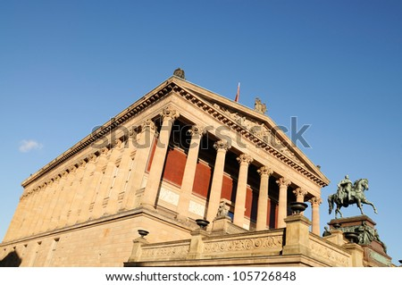 Frontal view of the Old National Gallery in Berlin.