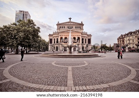 frontal view of the old opera building at dawn in Frankfurt, Germany - stock photo