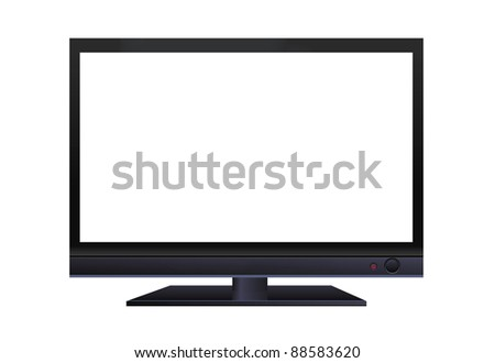 frontal view of widescreen lcd monitor isolated