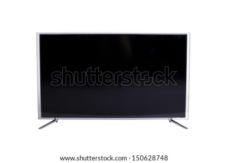 Frontal view of widescreen led or lcd internet tv monitor isolated on white - stock photo