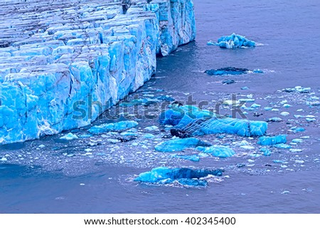 frontal wall of a glacier of Nansen. Northern island of Novaya Zemlya - stock photo
