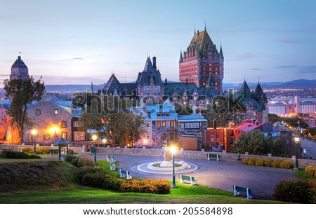 Frontenac Castle in Old Quebec city - stock photo