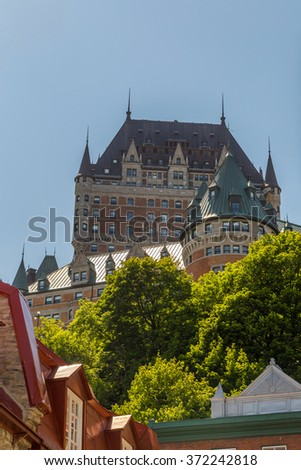 Frontenac castle in Quebec, old city - stock photo