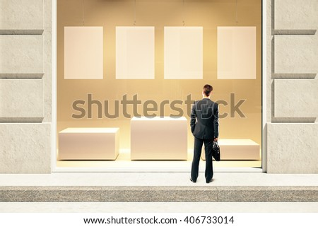 Frontview of showcase exterior with blank labels, stand and businessman. Mock up, 3D Rendering