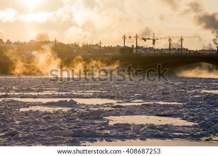 frost evening on Neva, St.Petersburg