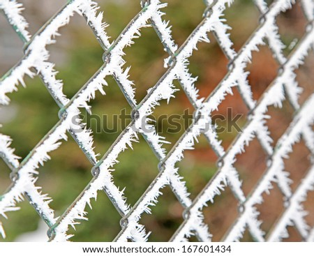 Frost on the fence - stock photo