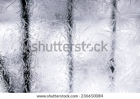 frost on the glass window abstract background is selective soft focus toned photo winter christmas