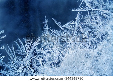 Frost pattern on the window - stock photo
