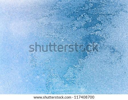 frost patterns on window - stock photo