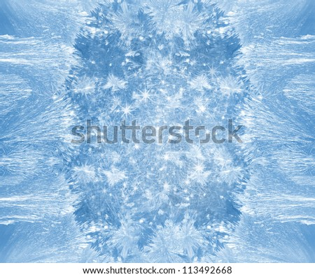 Frost patterns with sparkles - stock photo