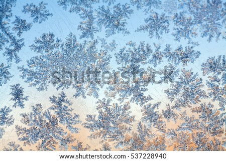 frost texture on the window glass in winter