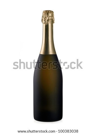 Frosted champagne bottle - stock photo